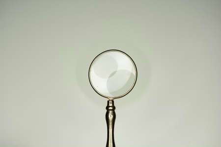 objects with clipping paths: magnifier glass isolated on white background, equipment lens or magnifier loupe Stock Photo