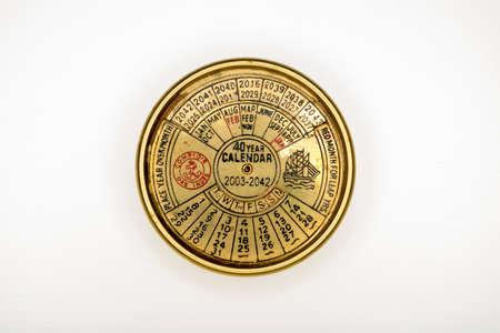 almanac: everlasting calendar old golden diary almanac isolated on white background