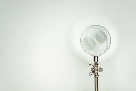 handglass: magnifier glass isolated on white background, equipment lens or magnifier loupe Stock Photo