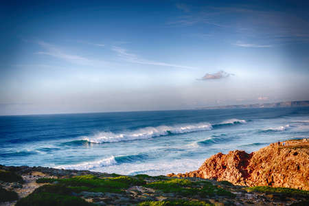 portugese: Cabo da Roca, Europes westernmost point, where the country ends and the sea begins, Portugal Stock Photo