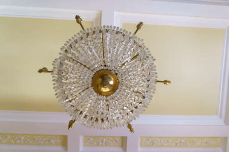 chandelier: Beautiful crystal chandelier in a room