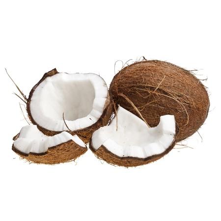 noix de coco: De noix de coco sur un fond blanc Banque d'images