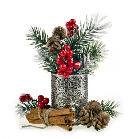 metal textures: Christmas fir twigs with red berries and cinnamon