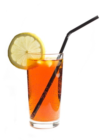 cold drink with lemon photo