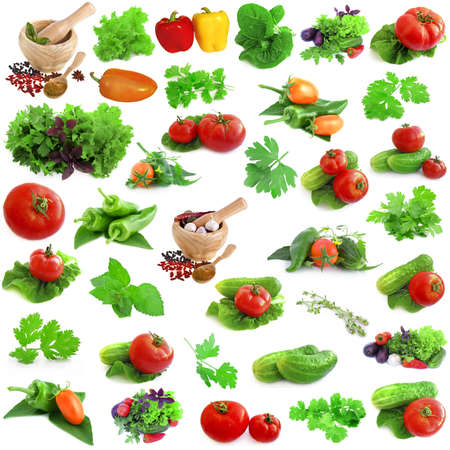 collection of fresh vegetables isolated on a white background photo