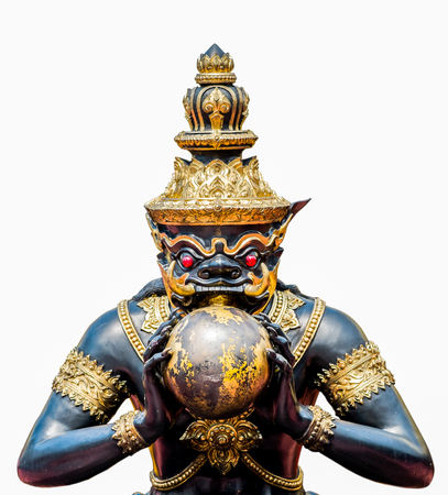 black giant: Rahu the name of Thai and India god, The black giant eating the moon.No require release Stock Photo