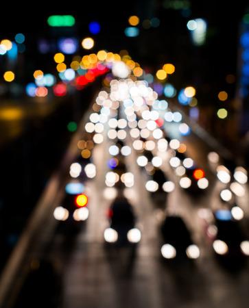 Blurred Defocused Lights of Heavy Traffic on night(blur road background)