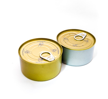 tin: closed tin can with open key on white background
