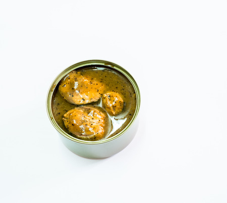 tinned: Open canned of tinned fish on white background, canned foods Stock Photo