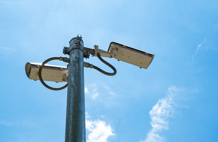under surveillance: outside security cameras cover multiple angles Stock Photo