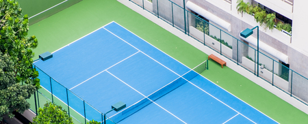 arbiter: Empty tennis courts from top view Stock Photo