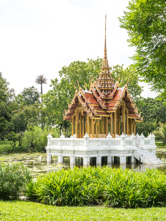 pavilion Thai style in center of water Stock Photo
