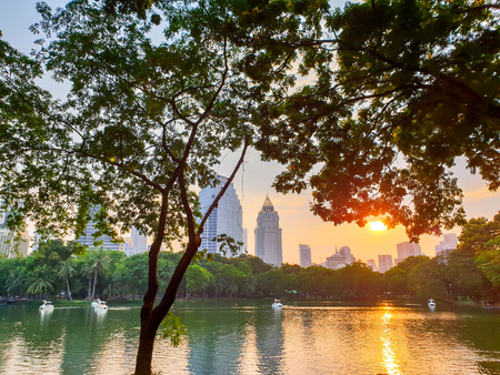 Cityscape view of public Park in evening with beautiful twilight light