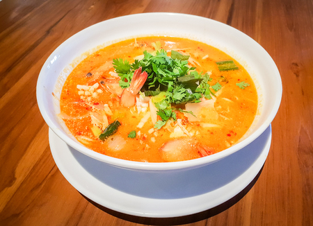 Thai food shrimp Soup,Thai soup Tom Yam Stock Photo