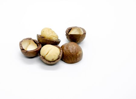 Macadamia nuts with hard shell on white isolated