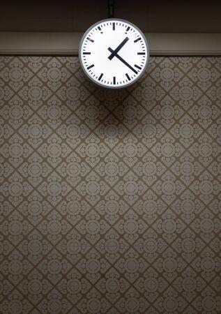 Vintage wall clock on vintage wall style