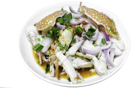 Thai style spicy salad with crab, Blue swimming crabม Thai dressed salad