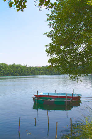rowboats: rowboats on the river Stock Photo