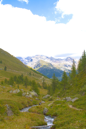 panorama along a hiking trail in Val D'Ayas, Alps Archivio Fotografico