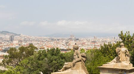Panorama of Barcelona in spring time