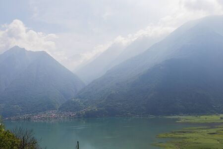 View of Como lake in Italy, summer time