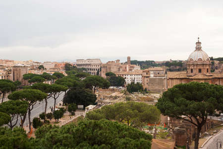 Rome, Italy - 3 January 2008: View of Roman Forums in Rome