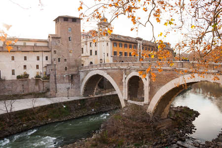Rome, Italy - 3 January 2008: Angle of Tevere river in Rome
