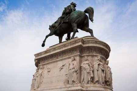 Rome, Italy - 3 January 2008: Glimpse of Rome, statue of Vittorio Emanuele second