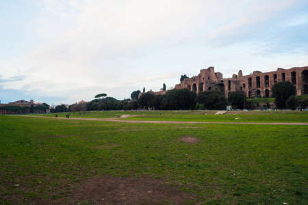 Rome, Italy - 3 January 2008: View of antique Rome, Circus Maximus