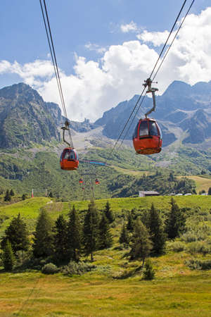 View of a cable car on Alps in summer time