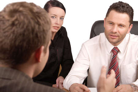 respectable: Three persons business meeting   -isolated
