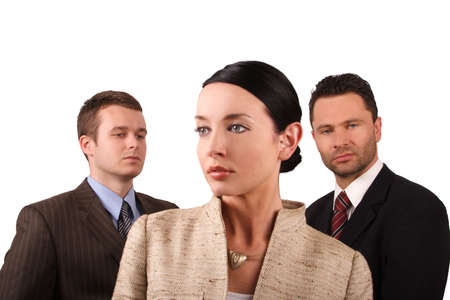eager: Group of 3 business people - isolated Stock Photo