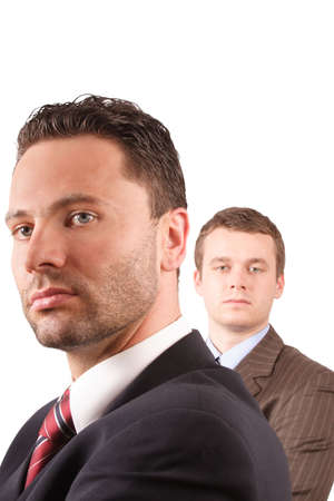 eager: 2 businessmen portrait - close up - isolated