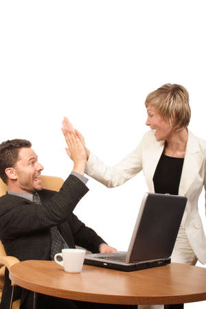 euphoria: Shouting successful business man-woman team -  clapping in hands Stock Photo
