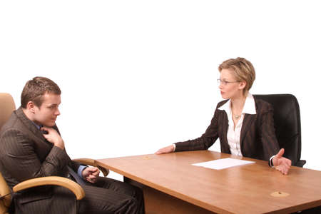 consequences: Senior woman junior man business talk - reprimand, isolated Stock Photo