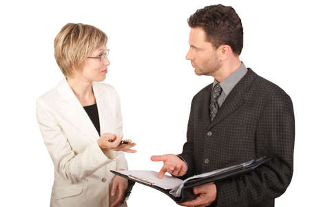 a courtesy: Business woman presenting report to  her partner - isolated