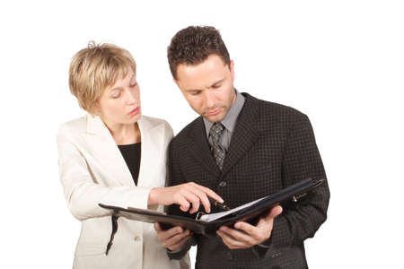 Business woman presenting report to  her partner - isolated Stock Photo - 387421