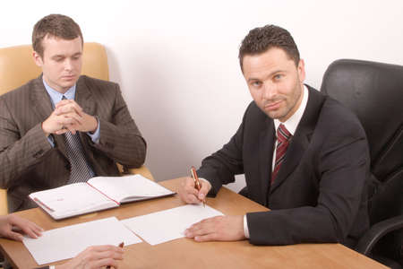 Business meeting  - signing contract Stock Photo - 387438