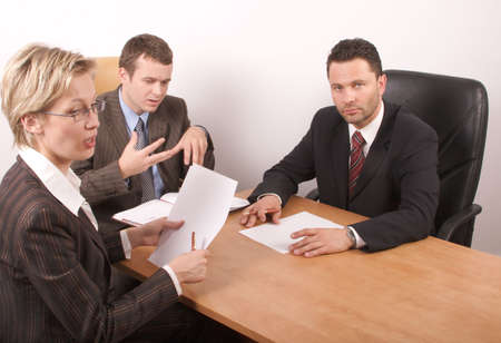 Business people preparing contract photo