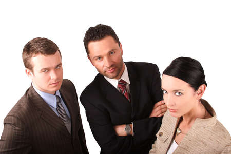 eager: Group of 3 business people - 2 men 1 woman Stock Photo