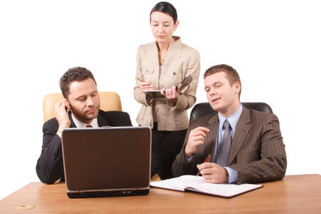 teammate: Group of 3 business people working together  with laptop in the office - isolated