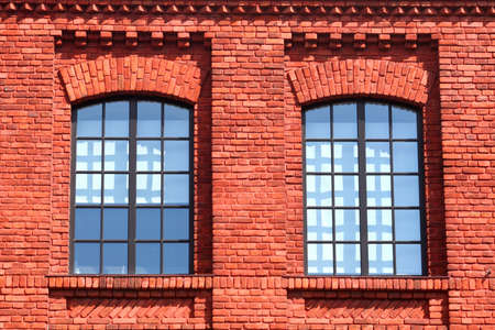 Windows in red brick office photo