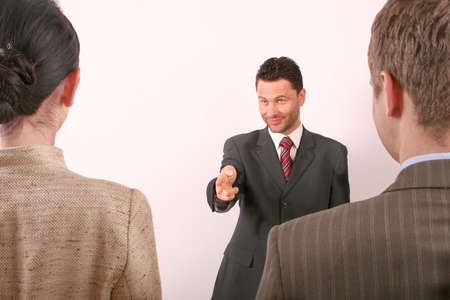 Hadsome business man pointing at woman - 1 Stock Photo - 433685