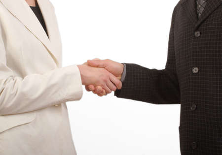 White man and woman - business handshake - fragile ; close up Stock Photo - 433626