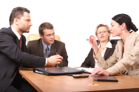 detailing: Business meeting of 4 persons -  2