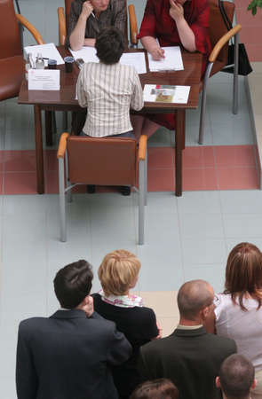 respectable: Group of people waiting for job interview Stock Photo