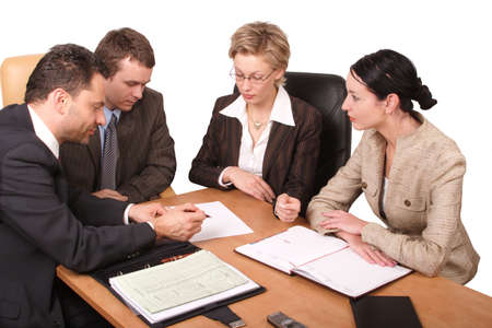 negotiation business: Group of people working at the desk