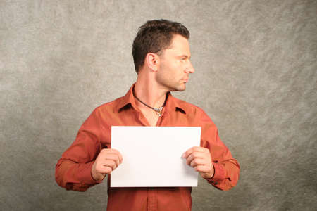 white man with blank card - right profile photo