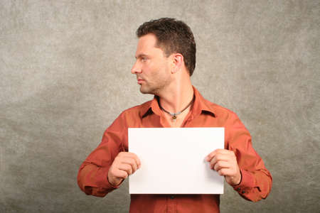 white man with balnk card - left profile photo