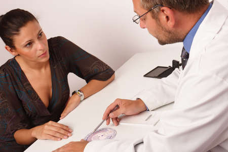 gynaecologist: at the doctors office. doctor is talking about contraception with his female patient Stock Photo